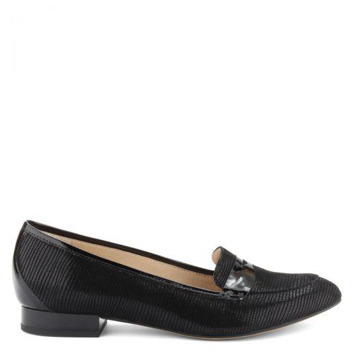 Elegáns lapos női bőrcipő, különleges, nyomott mintás felsőrésszel, bőr béléssel