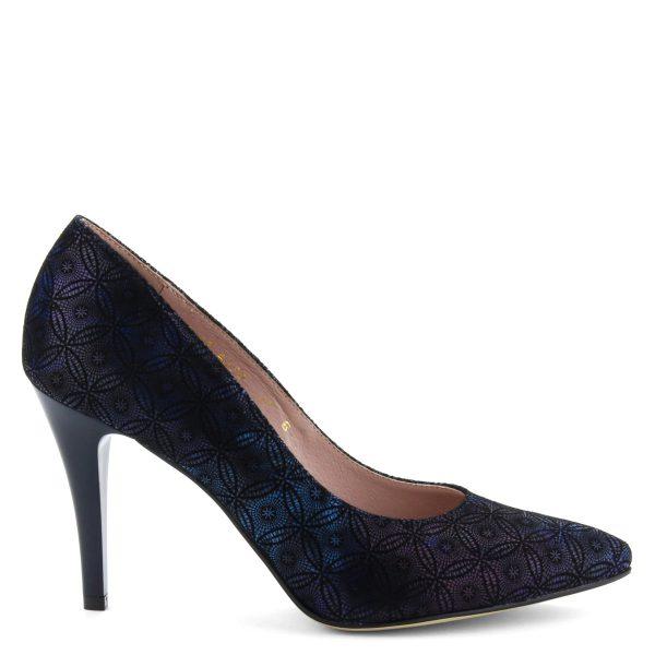 Gyöngyház hatású női magas sarkú cipő mintás bőr felsőrésszel, bőr béléssel. Sarka 9 cm magas.