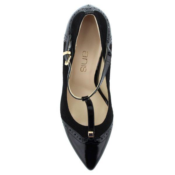 Fekete színű, velúr és lakk bőr kombinációjával készült pántos alkalmi cipő bőrből, bőr béléssel