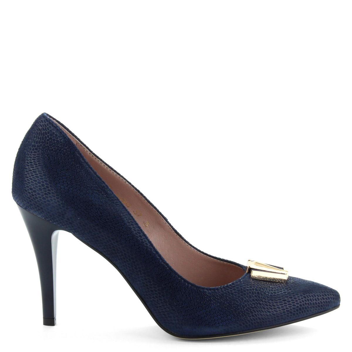 db2c515f96 9 cm magas sarkú sötétkék női magas sarkú cipő strukturált bőr felsőrésszel  és bőr béléssel.