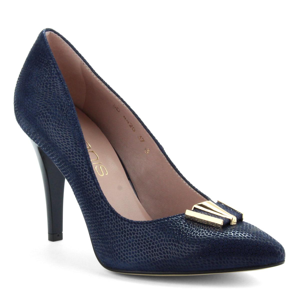 9 cm magas sarkú sötétkék női magas sarkú cipő strukturált bőr felsőrésszel  és bőr béléssel. 803fcdf97c