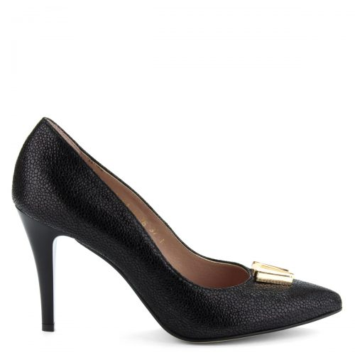 9 cm magas sarkú fekete női magas sarkú alkalmi cipő apró mintás bőr felsőrésszel és bőr béléssel.