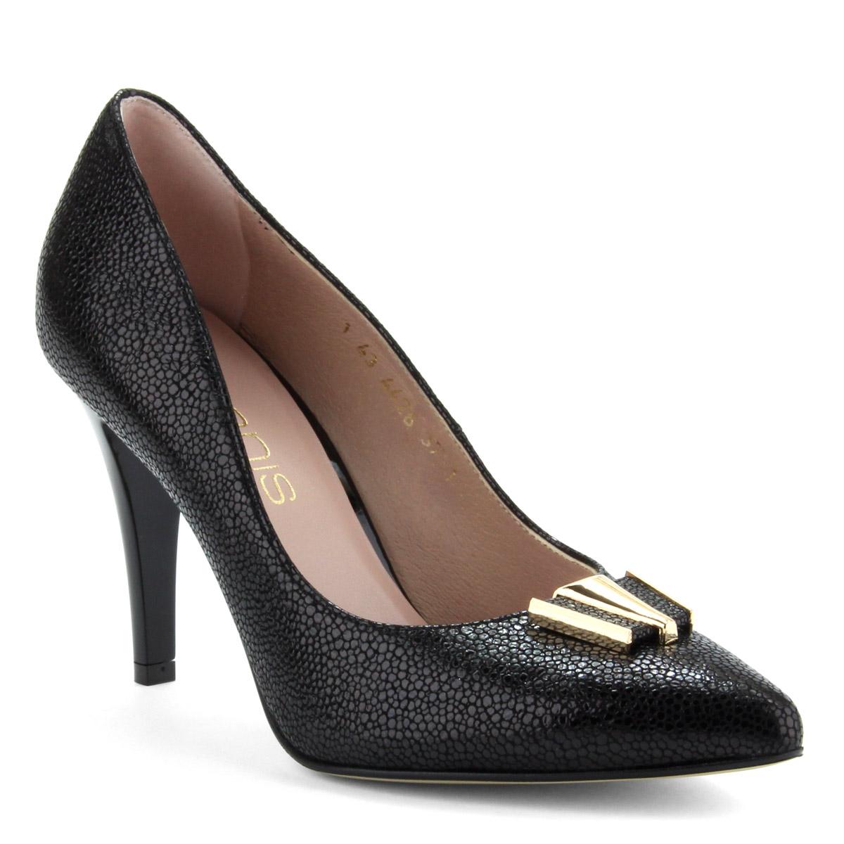 bb520733fd ... 9 cm magas sarkú fekete női magas sarkú alkalmi cipő apró mintás bőr  felsőrésszel és bőr ...