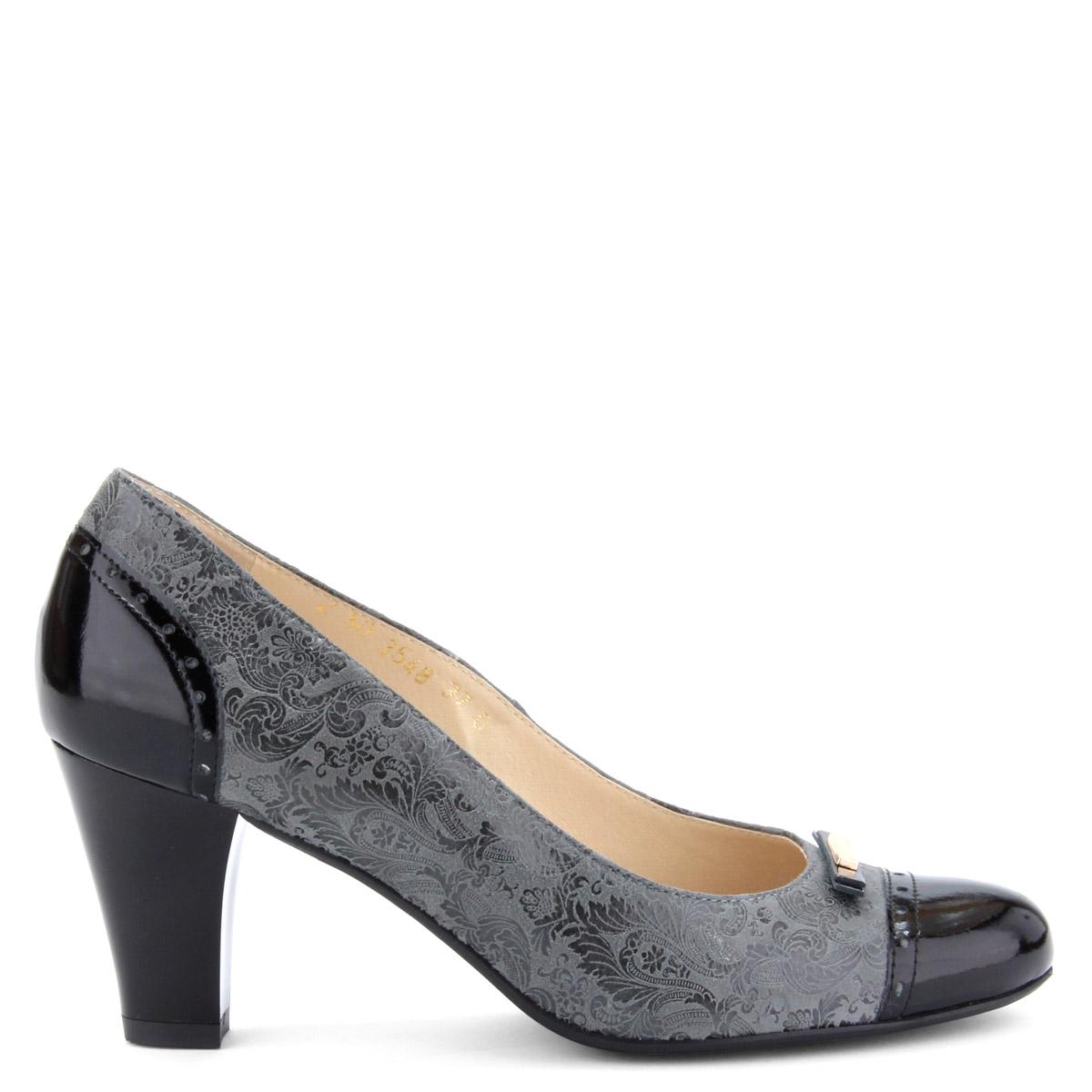 Fekete-szürke színkombinált női bőr cipő. Sarka 7 cm magas. 91a4e09068