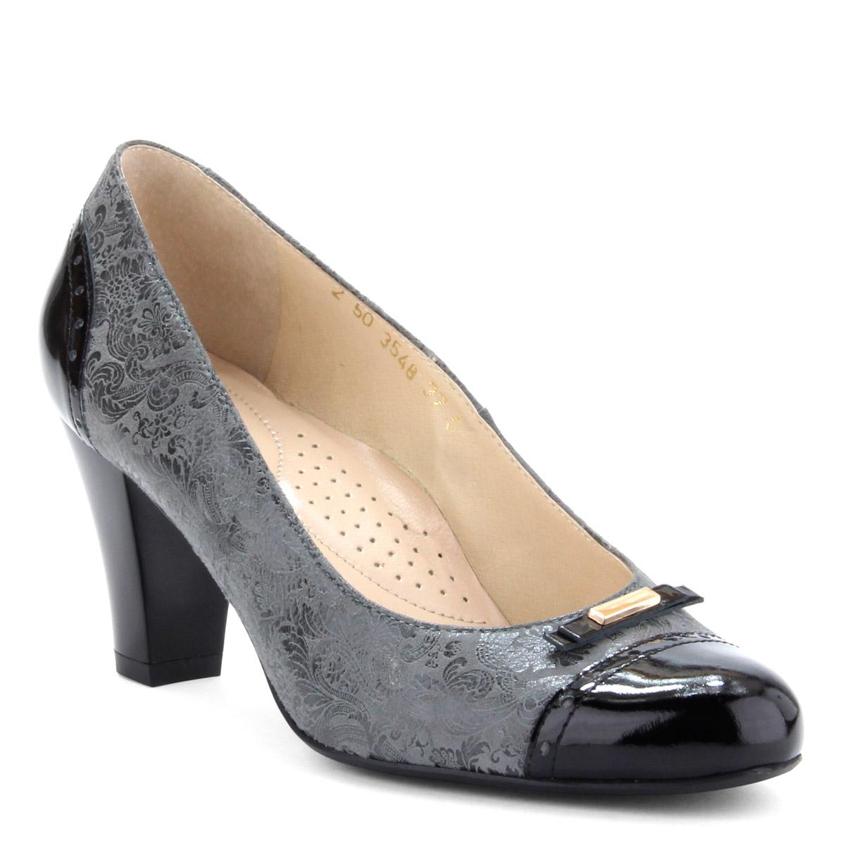 d2a0d2d4ad A cipő bélése · Fekete-szürke színkombinált női bőr cipő. Sarka 7 cm magas.