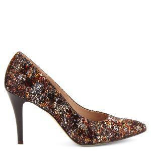 Mozaik mintás női magas sarkú cipő bőr felsőrésszel a23e3a5a49