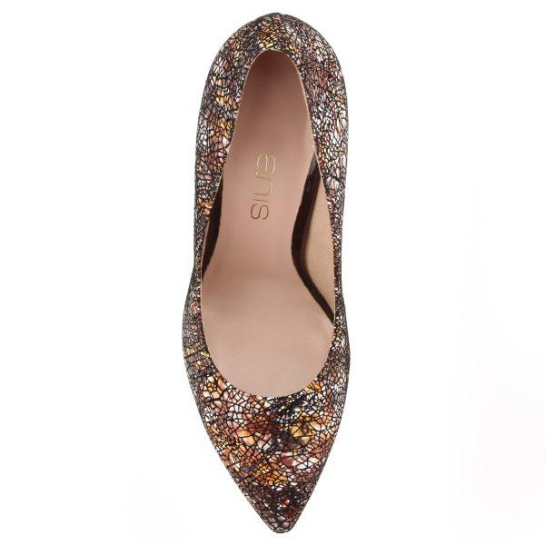 Mozaik mintás női magas sarkú cipő bőr felsőrésszel, bőr béléssel. Sarka 9 cm magas.
