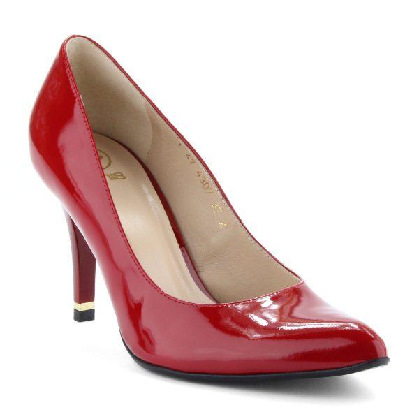 Elegáns női magassarkú alkalmi cipő piros lakk bőr felsőrésszel, kb 8,5 cm magas sarokkal