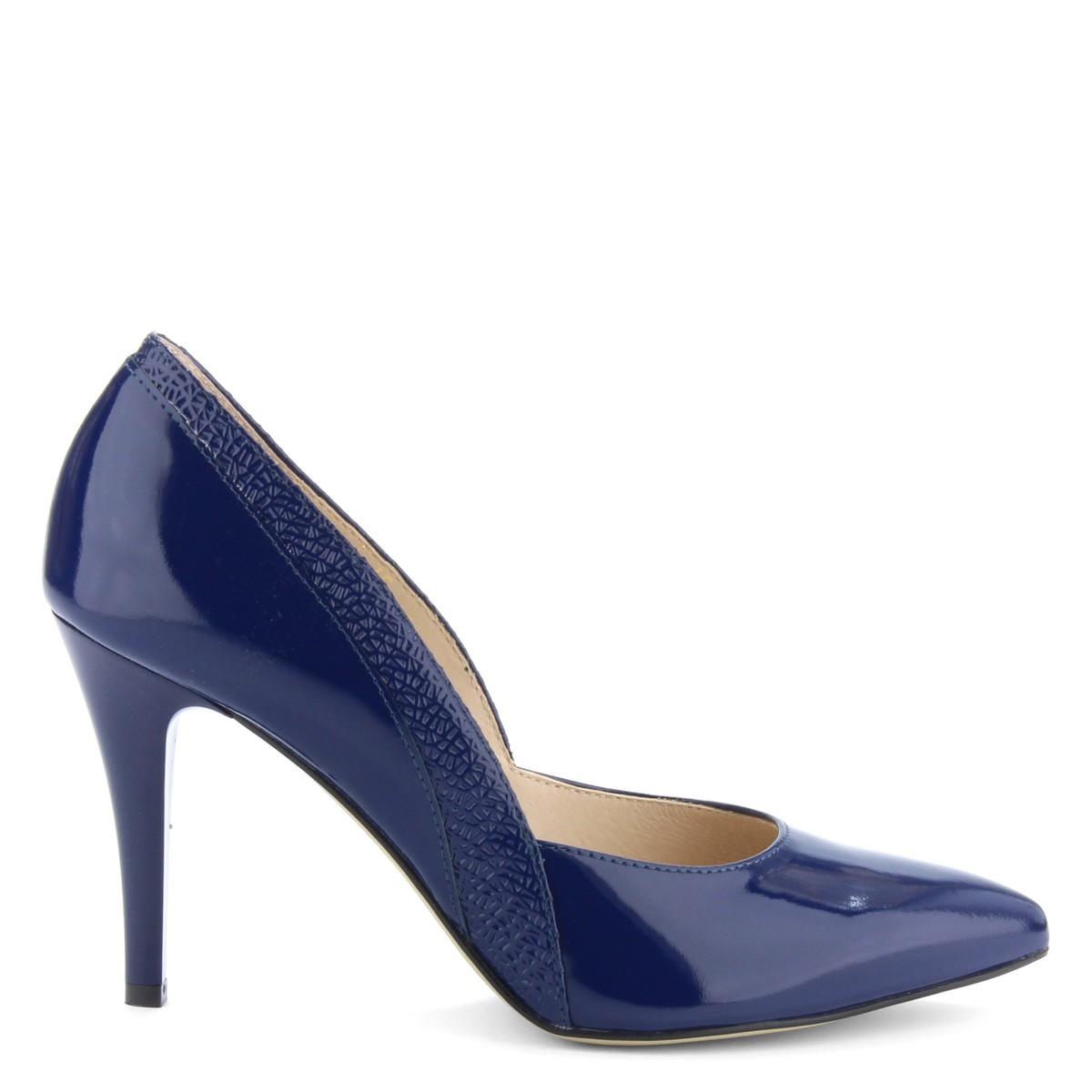 e97e45f6a8 Kék magas sarkú lakk alkalmi cipő. Sarka 9 cm magas ...