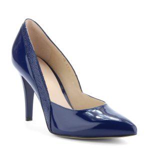 Kék magas sarkú lakk alkalmi cipő. Sarka 9 cm magas