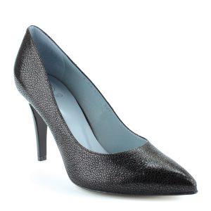Fekete Anis alkalmi cipő 9 cm magas sarokkal, hegyes orral, különleges texturált felületű bőrből, bőr béléssel.