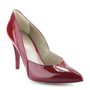 Piros színű magas sarkú lakk alkalmi cipő. Sarka 9 cm magas. Felsőrésze és bélése is bőrből készült. Akár a legkülönlegesebb alkalmakon is megállja a helyét.