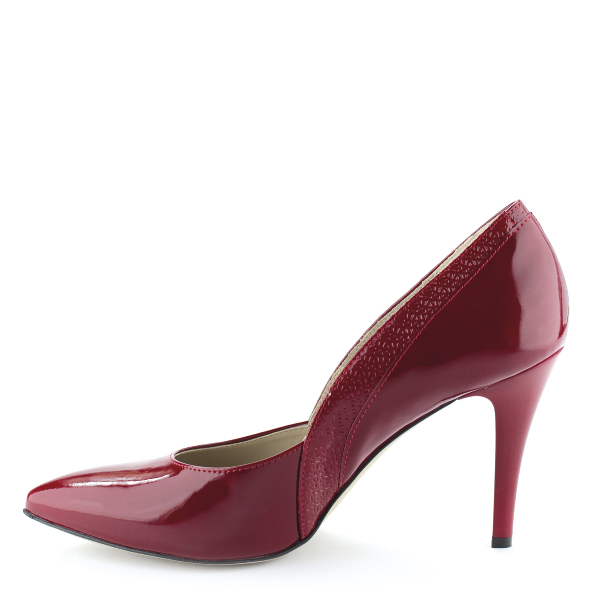 Felsőrésze és bélése  Piros színű magas sarkú lakk alkalmi cipő. Sarka 9 cm  magas. 3181659e8a