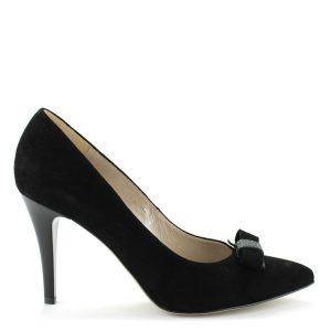 Anis velúr alkalmi cipő fekete szíben, bőr felsőrésszel. Sarka 9 cm magas, bélése bőr