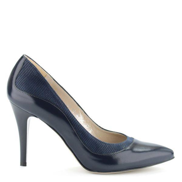 Anis alkalmi cipő kék színben, 9 cm magas elegáns sarokkal. A cipő anyaga kívül-belül bőr, oldalában texturált felületű bőrből készült betét található.