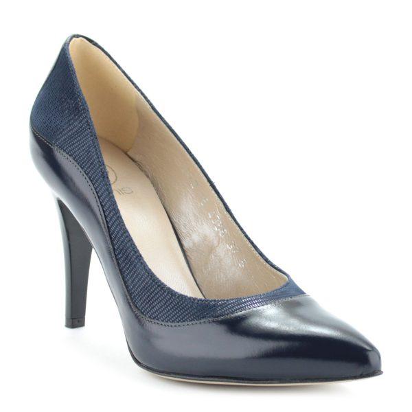 9 cm magas sarkú gyönyörű női alkalmi cipő kék színben, bőr felsőrésszel és bőr béléssel.