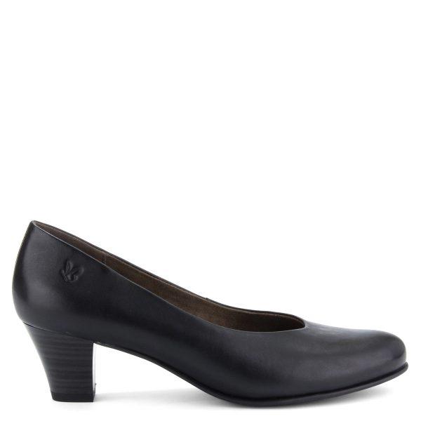 Klasszikus fazonú Caprice női bőrcipő fekete színben. Sarka 5 cm magas.