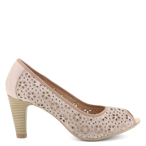 Világos rózsaszín, nyitott orrú női bőr cipő 7,5 cm magas sarokkal. Lézervágott felsőrésze teszi igazán különlegessé.