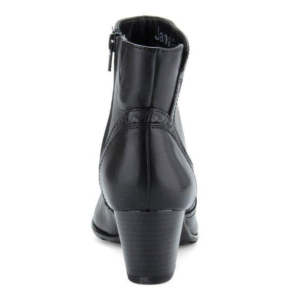 Fekete bőr női bokacsizma 5,5 cm magas sarokkal, filc béléssel. Talpa flexibilis gumitalp.