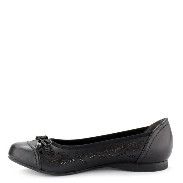 Fekete színű lapos Jana balerina cipő. Könnyű, kényelmes kerek orrú női cipő, orrán masni dísszel.