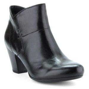 Fekete bőr női bokacsizma. Vékony béléssel készült. Sarka 6 cm magas.