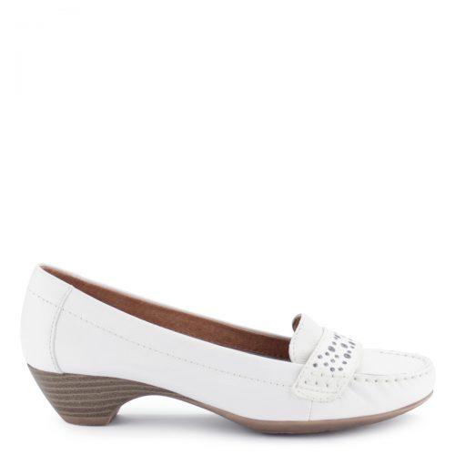 Törtfehér színű Jana bőrcipő. Puha bőr felsőrésszel és puha bőr béléssel készült, sarka 3,5 cm magas.