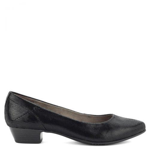 Fekete bőr Jana cipő strukturált felsőrésszel, kb 3 cm magas sarokkal. Hajlékony gumi talpa és H szélességű talpa garancia a kényelemre.