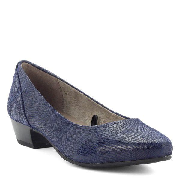 Sötétkék bőr Jana cipő strukturált felsőrésszel, 3 cm magas sarokkal. Hajlékony gumi talppal készült.