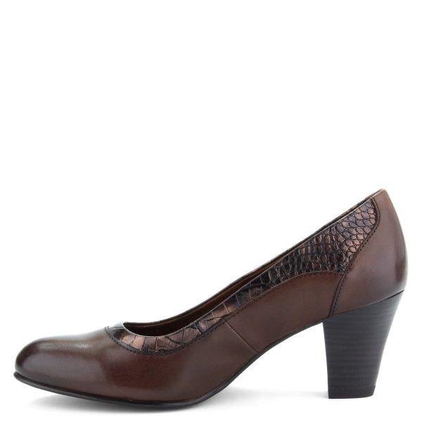 6,5 cm magas sarokkal készült Jana női cipő G szélességű talppal, barna színben, bőrből.