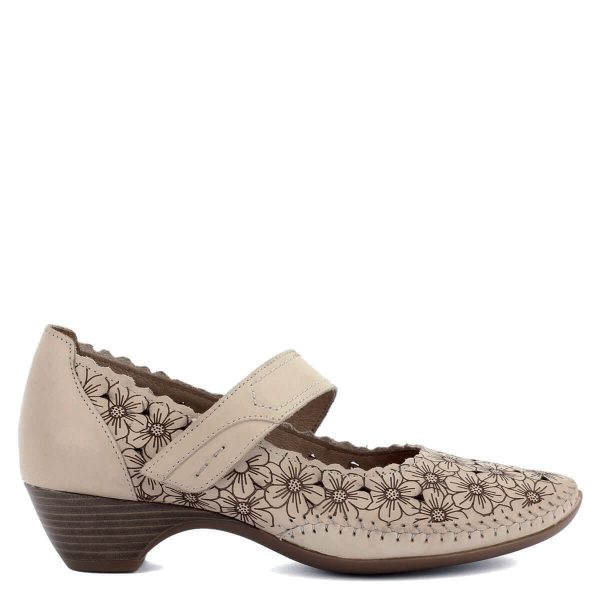 Bézs színű, virágmintával díszített pántos Jana bőr cipő H szélességű talpon. Pántja tépőzáras. Orra merevítés nélküli, nagyon kényelmes, hajlékony cipő.