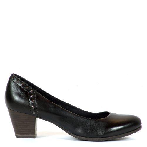 Fekete Marco Tozzi cipő természetes bőrből, 5 cm magas AntiShokk sarokkal.