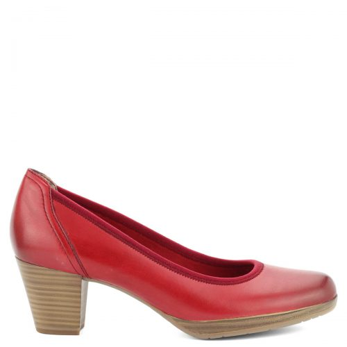 Marco Tozzi női bőr cipő kb 5,5 cm magas sarokkal, platformos talppal. Talpbélése puha memóriahabos Feel Me talpbélés, sarka AntiShokk sarok