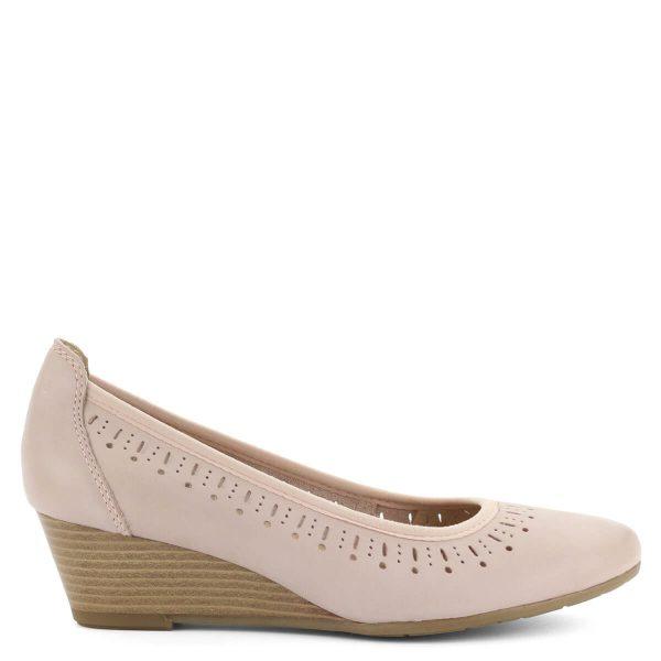 4,5 cm magas sarkú telitalpú rózsaszín bőr cipő. Puha Feel Me talpbéléssel készült, a cipő felsőrésze körben lyukacsos