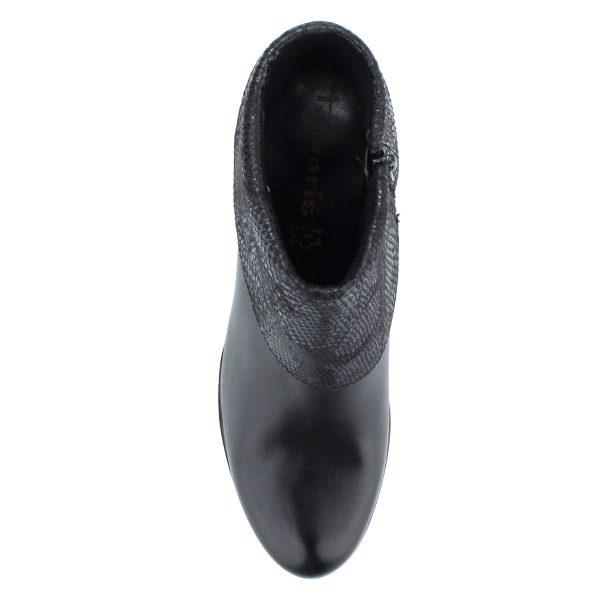 """Fekete színű """"galléros"""" Tamaris bokacsizma 8 cm-es sarokkal, vastag talppal"""