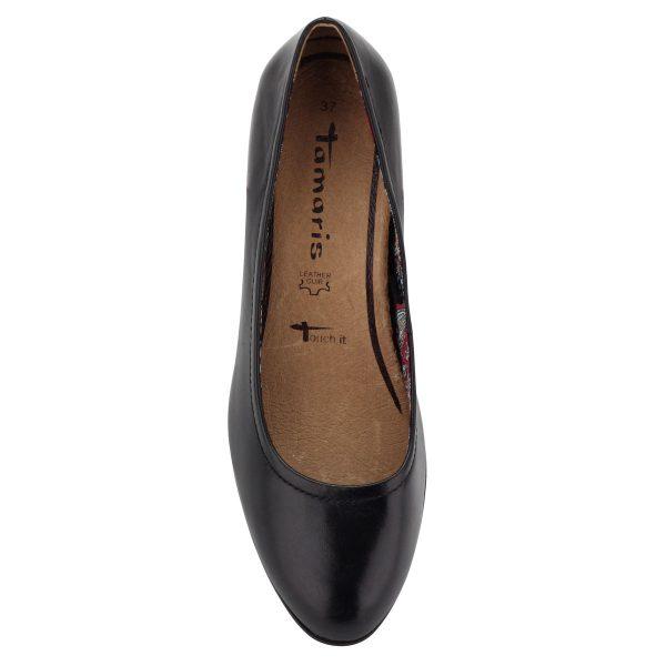 Kényelmes Tamaris cipő stabil, 6 cm magas sarokkal, puha, memóriahabos Touch It talpbetéttel.
