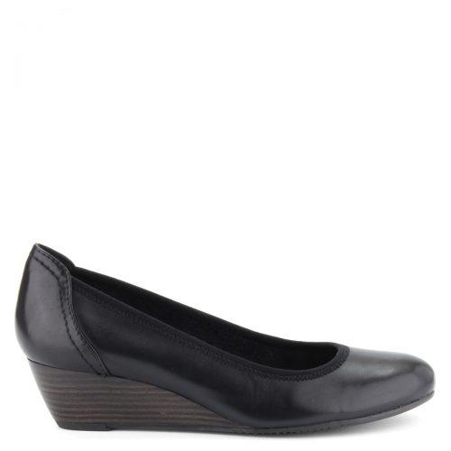 Klasszikus kerek orrú, éktalpú Tamaris cipő, puha memóriahabos