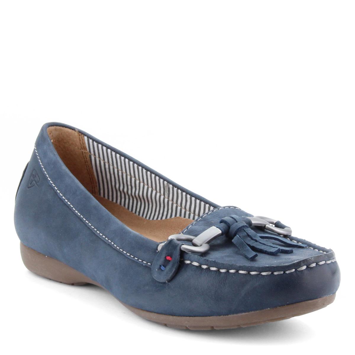 Kék Tamaris bőr mokaszín. Könnyű nyári cipő memóriahabos talpbetéttel 9dd287f808