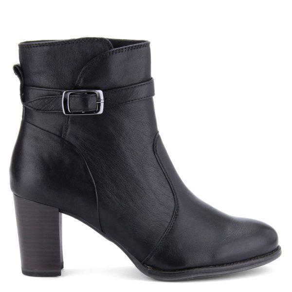 Magas szárú elegáns fekete Tamaris bokacsizma 7 cm magas ANTiShokk sarokkal.