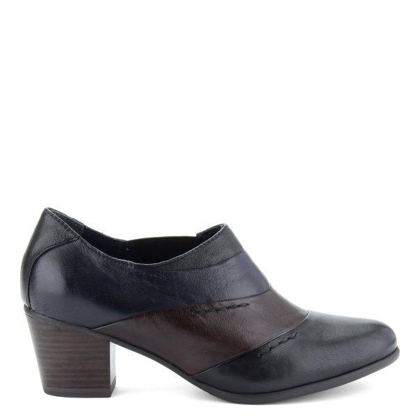 Zárt felsőrészű, fekete-barna-kék színek kombinációjával készült, 5,5 cm magas ANTiShokk sarkú, belebújós Tamaris cipő
