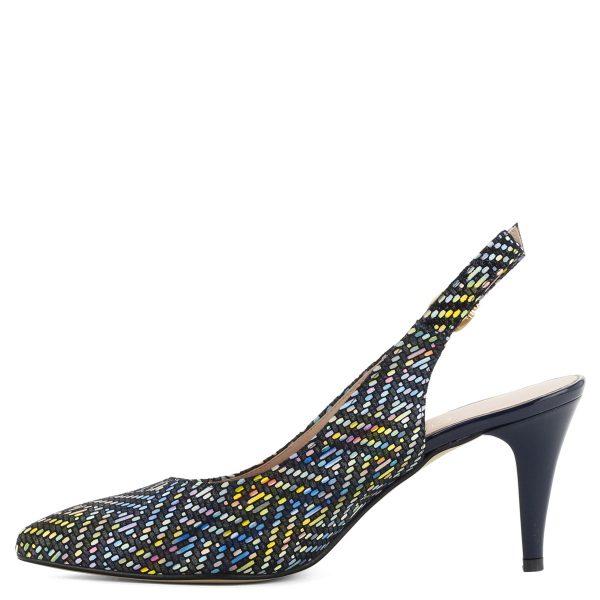 Anis színes szandálcipő 8 cm magas sarokkal. Kívül-belül bőr. Különleges mintázatú anyagból készült, csinos és kényelmes cipő.