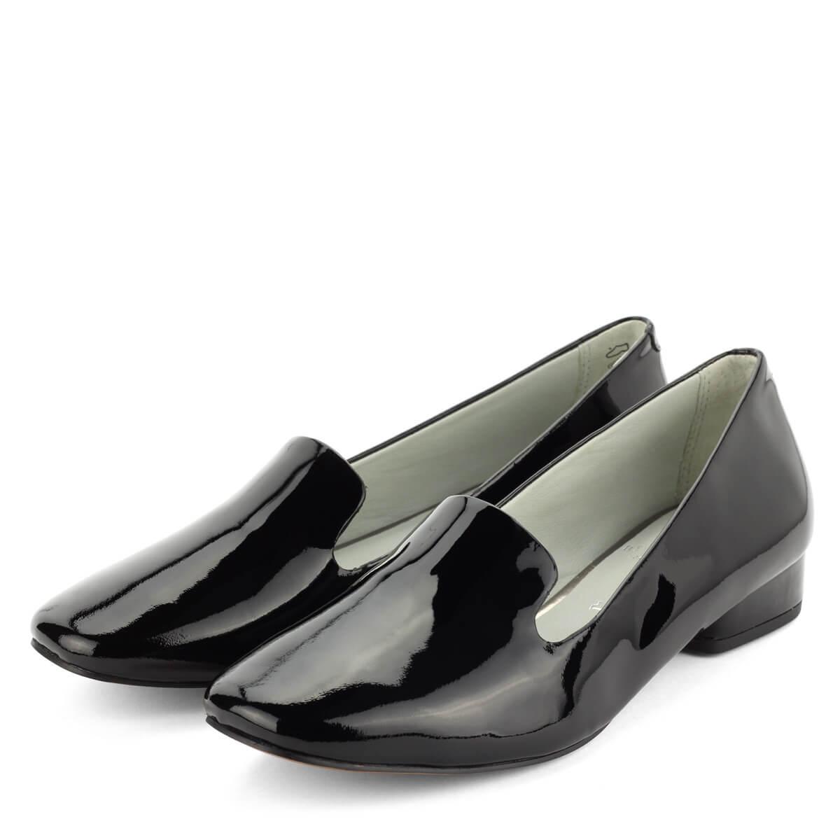 9126ac4c05 Be Natural női cipő fekete lakk bőr felsőrésszel 2,5 cm magas sarokkal