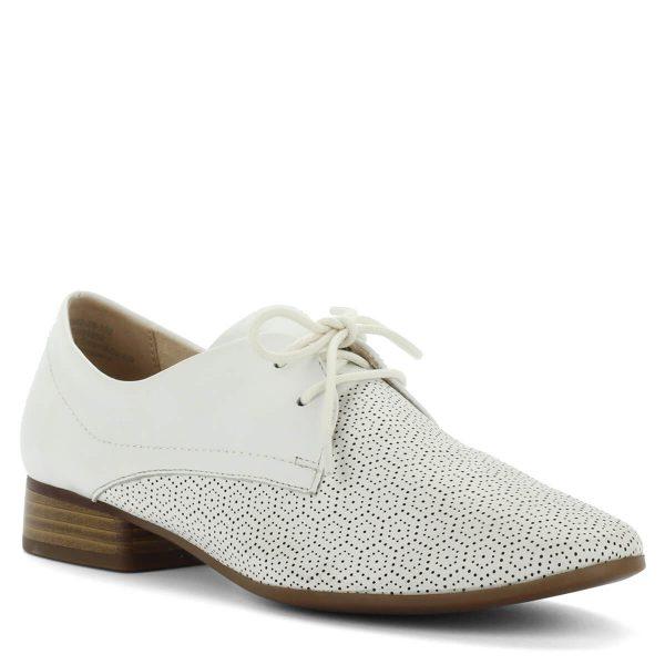 Caprice fűzős cipő fehér színben. Vajpuha bőrből készült, nagyon igényesen kidolgozott, szellős cipő. Sarka 2,5 cm magas.