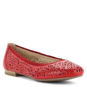 Körben gumírozott felsőrésszel készül Caprice bőr balerina cipő lyukacsos mintázattal