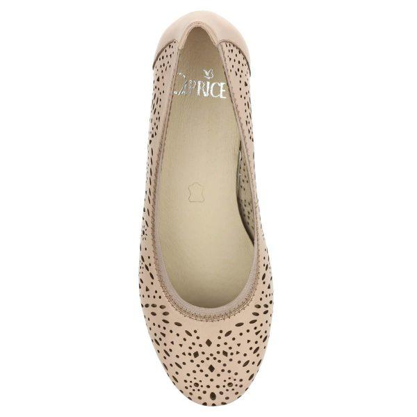 Caprice bőr balerina cipő lyukacsos felsőrésszel, rózsaszín színben. Felsőrésze körben gumírozott.