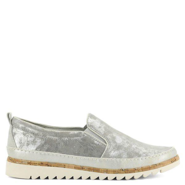 Jana slip-on ezüst színben. Könnyű kényelmes cipő H szélességű talppal
