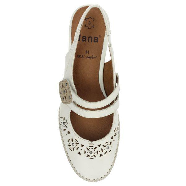 Jana bőr pántos szandálcipő fehér színben, H szélességű talppal. Lábfejen található pántja tépőzáras. Sarka 4 cm magas, puha talpbéléssel készült.