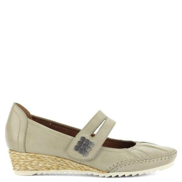 Pántos Jana cipő világos szürke színben. 3,5 cm magas sarokkal készült. Puha bőr felsőrésszel, H szélességű talppal készült, pántja tépőzáras.