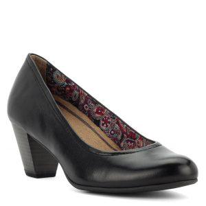 Fekete Tamaris cipő 6 cm-es Antishokk sarokkal, bőr felsőrésszel. Talpbélése könnyen kivehető, cserélhető memóriahabos Touch It talpbélés.