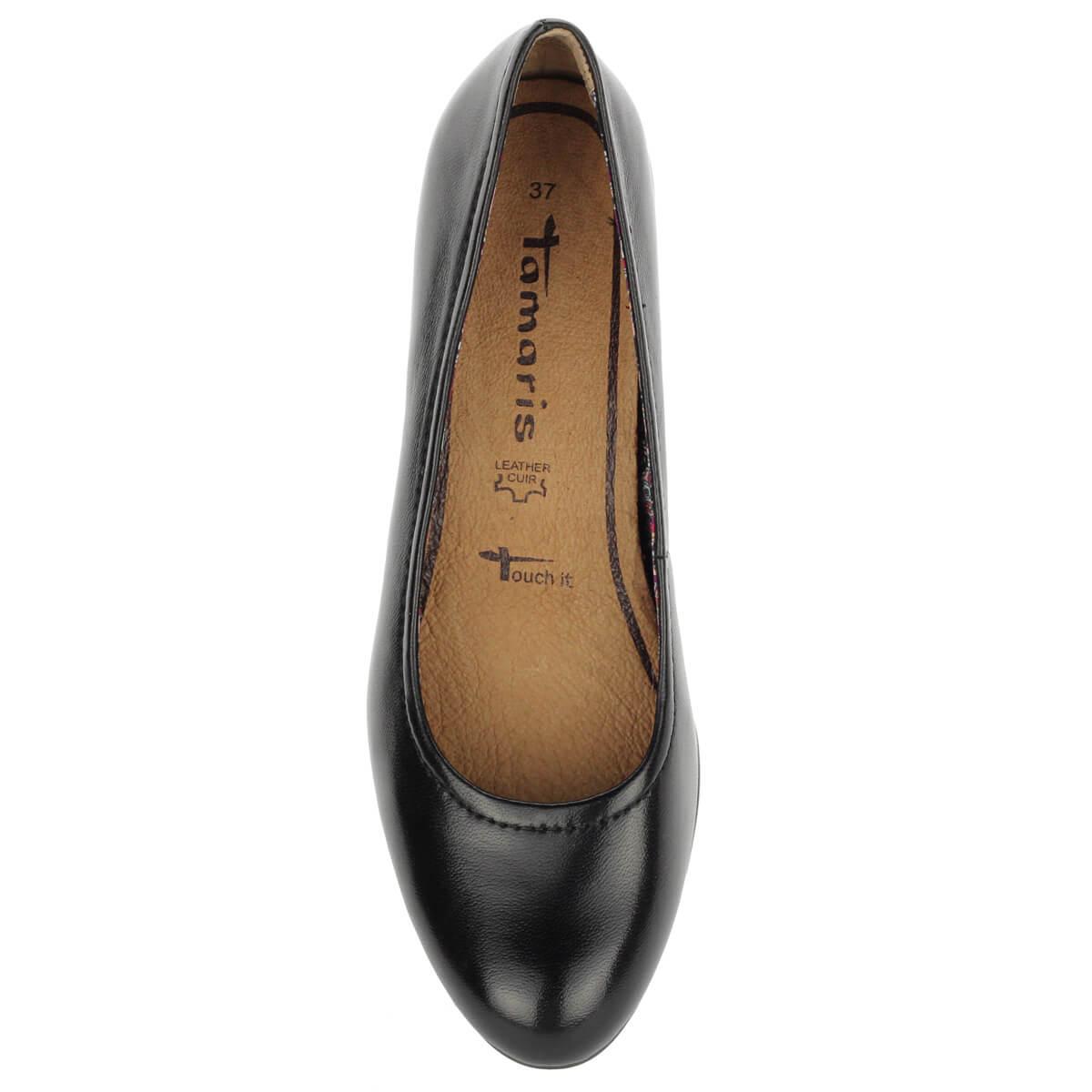 57a9a3b67a Fekete Tamaris cipő 6 cm magas Antishokk sarokkal, bőr felsőrésszel