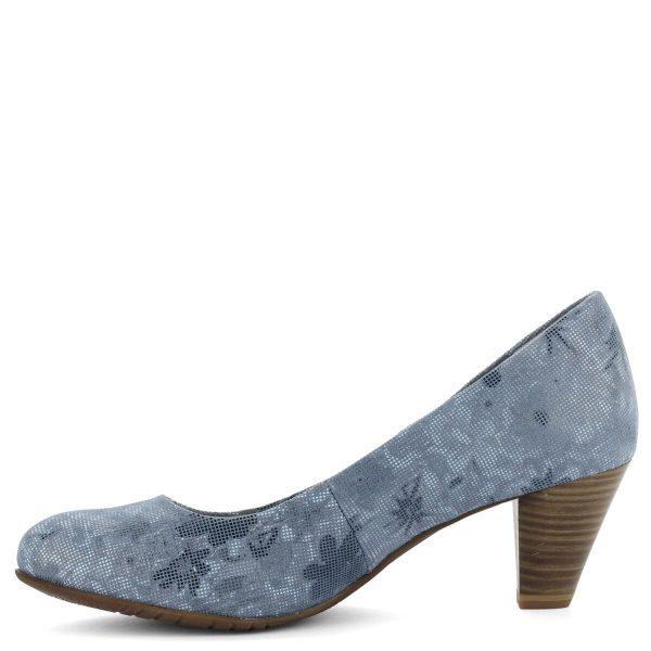 Közepes sarkú Tamaris cipő kék színben. Bőr felsőrésze vidám mintázatú. Antishokk sarokkal készült, talpbélése a lábhoz igazodó Touch It talpbélés.